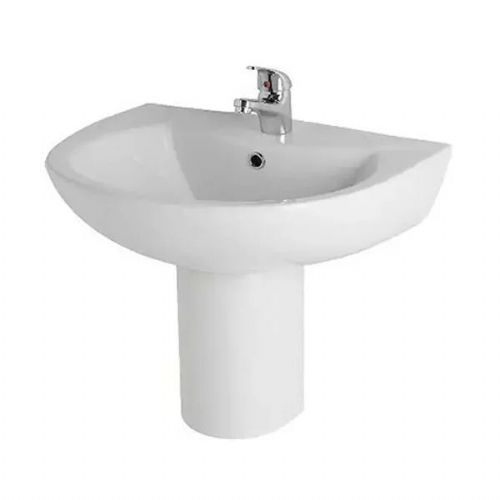 Kartell Revive Basin - 570mm Wide - Semi Pedestal - 1 Tap Hole - White